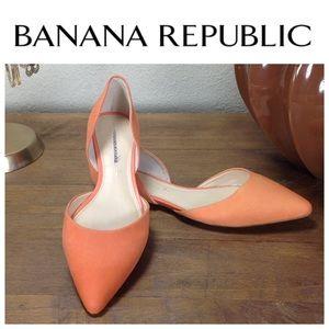 Banana Republic Orange Leather D'orsay Flats